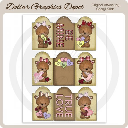 Bailey Bear Valentine Sheet Tags - Printables