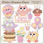Birthday Owls 1 - Clip Art