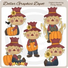 Fall Scarecrows - Clip Art