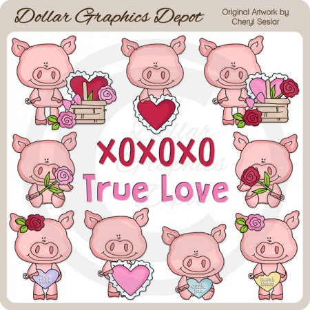 Little Valentine Pigs - Clip Art - *DGD Exclusive*
