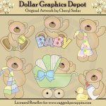 Cuddly Baby Bears - Clip Art