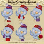 Pretty Birds - Red Hatters - Clip Art