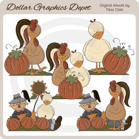 Autumn Chickens - Clip Art