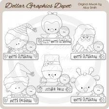 Christmas Greeting Pals - Digital Stamps - *DCS Exclusive*