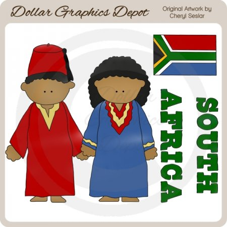 South African Kids - Clip Art