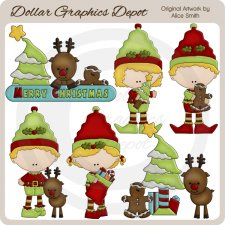 Christmas Elves - Clip Art