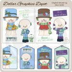 Snowman Elements and Tags - Scrap Elements