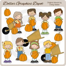 Big Kids - Pumpkin Patch - Clip Art
