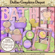 Bath Time for Baby Girl - Scrap Kit
