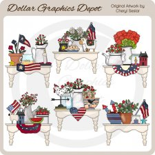 Pretty Americana Shelves - Clip Art