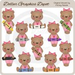 Crayon Bears - Girls - Clip Art - *DGD Exclusive*