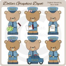 Occupation Bears - Police Officers - Clip Art - *DGD Exclusive*