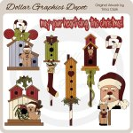 Christmas Birdhouses 1 - Clip Art