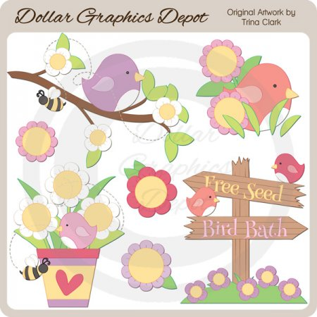 Birds and Blooms - Clip Art