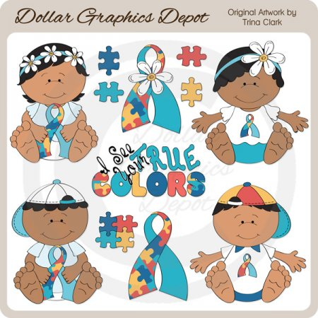 Autism Awareness Babies 2 - Clip Art