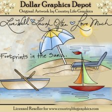 Footprints In The Sand - Clip Art