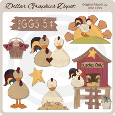 Country Chickens - Clip Art