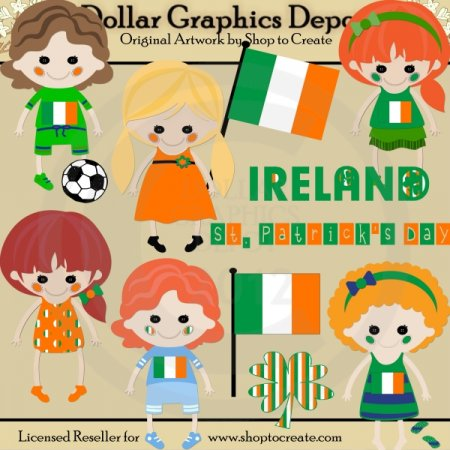 Irish Dolls - St. Patrick's Day - Clip Art