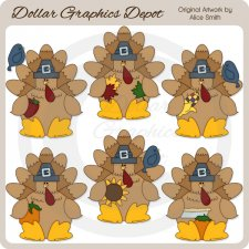 Thanksgiving Turkeys 3 - Clip Art - *DGD Exclusive*