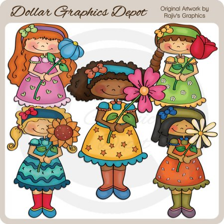 Pretty Spring Girls - Clip Art