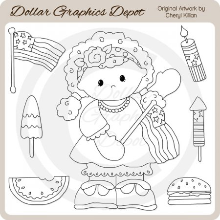 Americana Allie - Digital Stamps