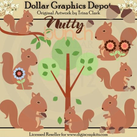 Nutty Bunch Squirrels - Clip Art