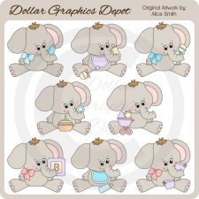 Baby Elephants - Clip Art
