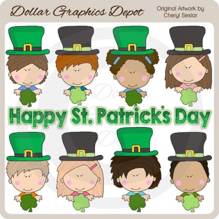 St. Patrick's Day Kids - Clip Art