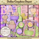 Bath Time for Baby Girl 1 - Clip Art