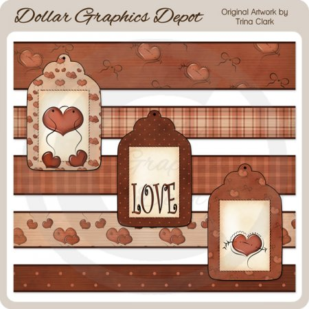 Valentine Hearts - Borders and Tags