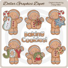 The Gingerbreads Bake Cookies - Clip Art