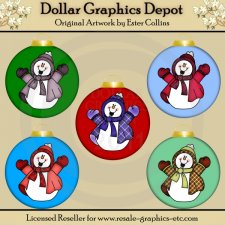 Happy Snowmen Ornaments - Clip Art
