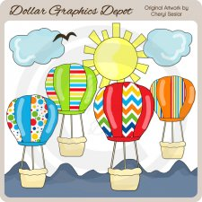 Hot Air Balloons 1 - Clip Art