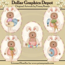 Easter Bunny Bears - Ovals - Clip Art