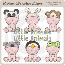 Animal Hat Babies 3 - Clip Art - *DCS Exclusive*