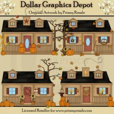 Fall Cottages - Clip Art