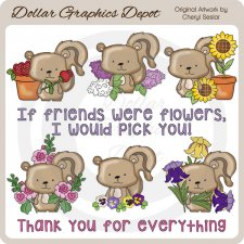 Flower Friends Chipmunks - Clip Art