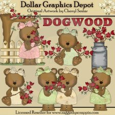 Dogwood Bears - Clip Art - *DGD Exclusive*
