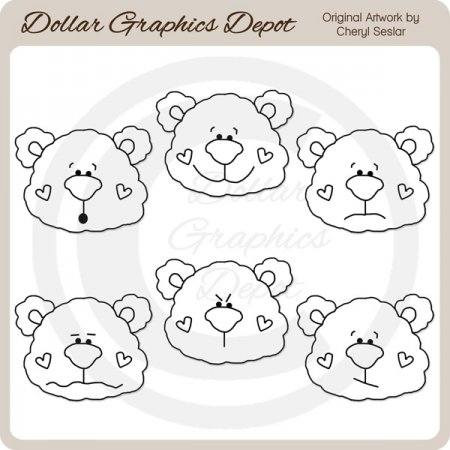 Bear Face Emotions - Digital Stamps
