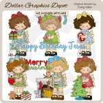 Little Christmas Girls - Clip Art - *DGD Exclusive*