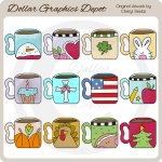 Seasonal Coffee Mugs - Clip Art