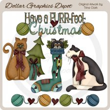 Christmas Kitties - Clip Art