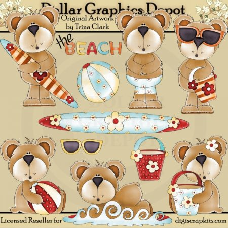 Beach Bears 1 - Clip Art