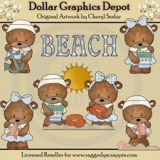 Baxter and Bailey Beach Day - Clip Art