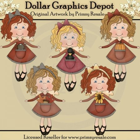 Autumn Angel Girls - Clip Art