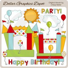 Bounce House Birthday - Clip Art