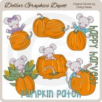 Pumpkin Patch Mice - Clip Art