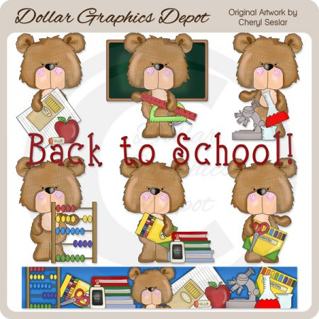Freddy Bear - Back To School - Clip Art