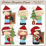 Christmas Morning Kids 1 - Clip Art - *DGD Exclusive""