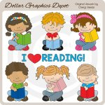 Little Reading Kids - Clip Art